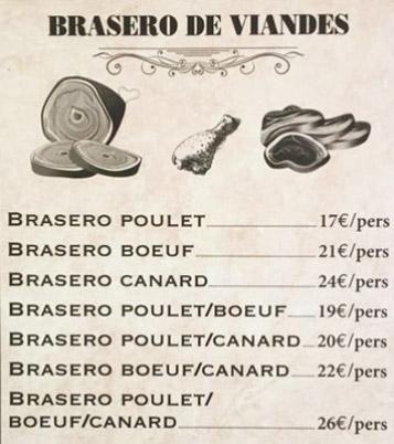menu brasero